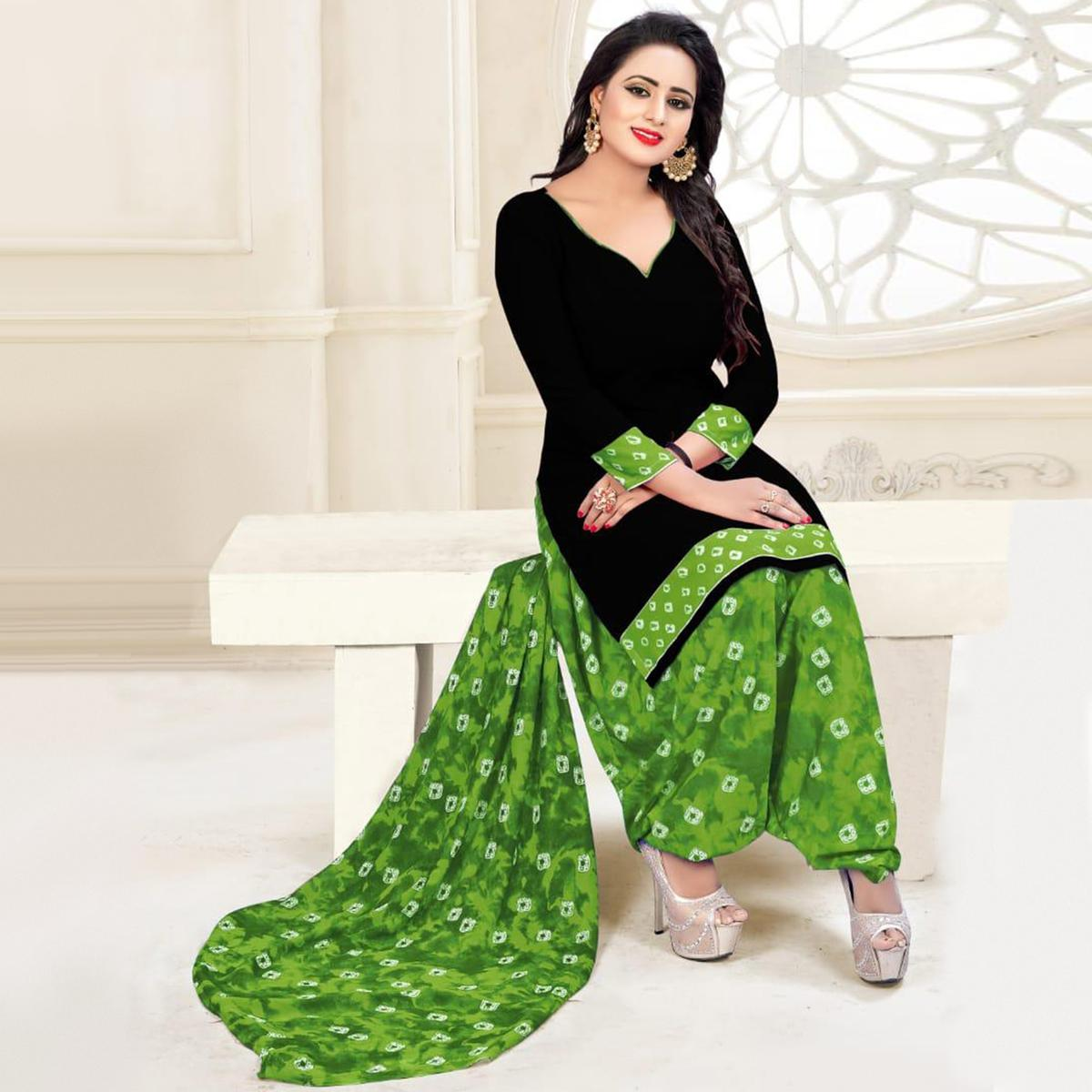 Beautiful Black & Green Colored Casual Wear Printed Crepe Salwar Suit