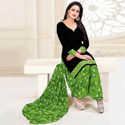 Beautiful Black & Green Colored Casual Wear Printed Leon Salwar Suit