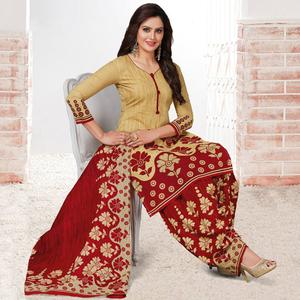 Gorgeous Beige & Maroon Colored Casual Wear Printed Crepe Salwar Suit