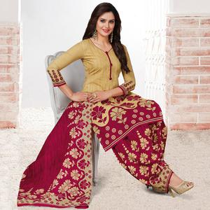 Classy Beige & Pink Colored Casual Wear Printed Crepe Salwar Suit