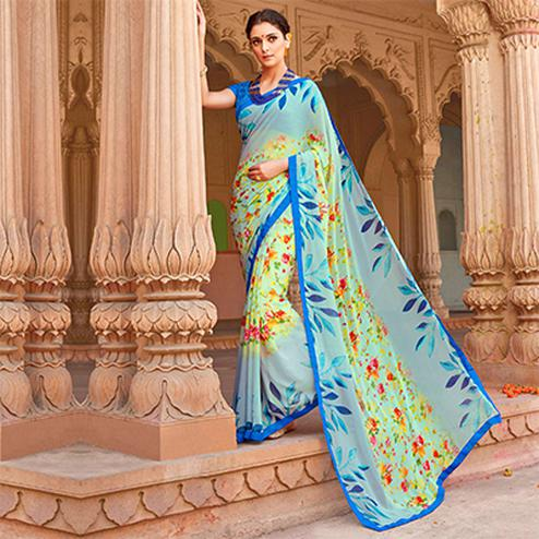 Sky Blue Digital Printed Georgette Saree