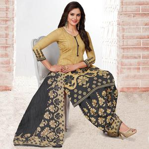 Glorious Beige & Grey Colored Casual Wear Printed Crepe Salwar Suit
