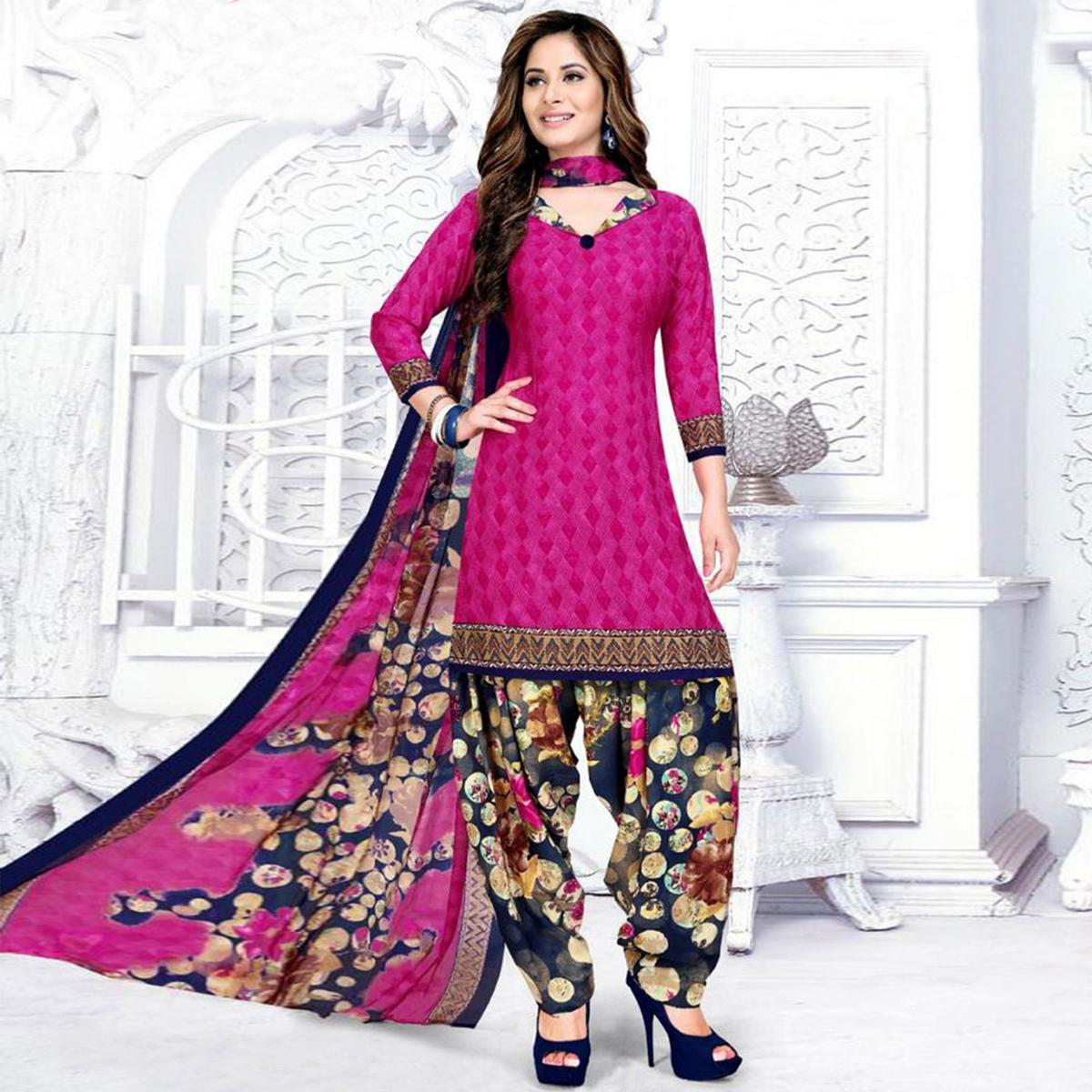 Graceful Magenta Pink Colored Casual Wear Printed Crepe Salwar Suit