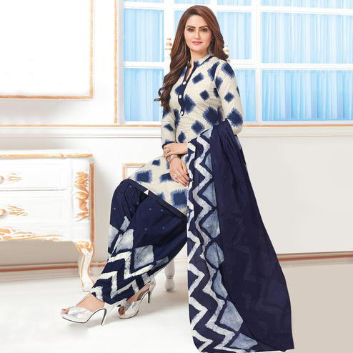 Lovely Off White - Blue Colored Casual Wear Printed Crepe Salwar Suit