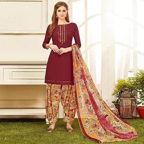 Pretty Maroon Colored Casual Wear Printed Crepe Salwar Suit