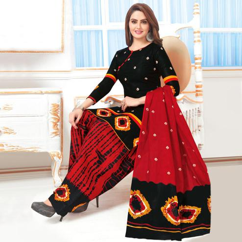 Charming Black Colored Casual Wear Printed Leon Salwar Suit