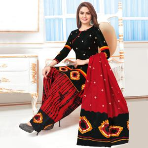 Charming Black Colored Casual Wear Printed Crepe Salwar Suit