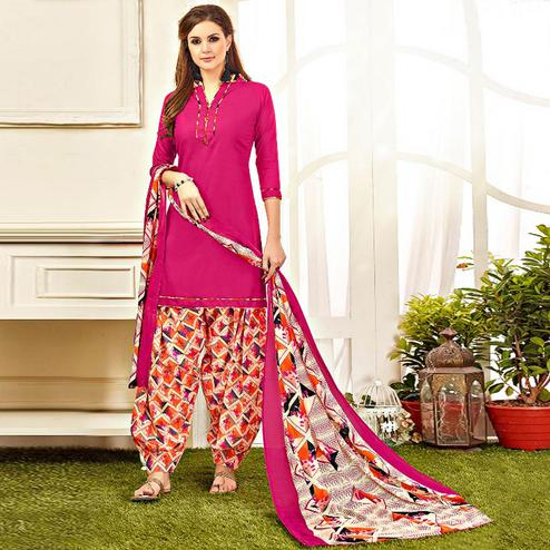 Ravishing Deep Pink Colored Casual Wear Printed Leon Salwar Suit