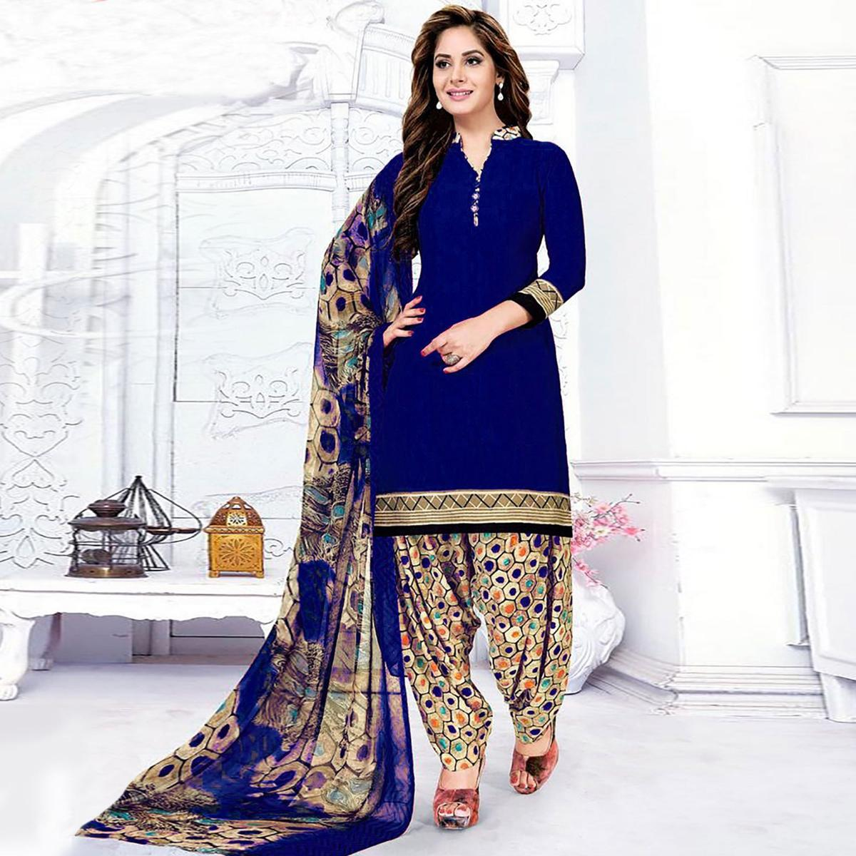 Delightful Royal Blue Colored Casual Wear Printed Crepe Salwar Suit