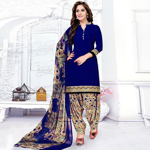 Delightful Royal Blue Colored Casual Wear Printed Leon Salwar Suit
