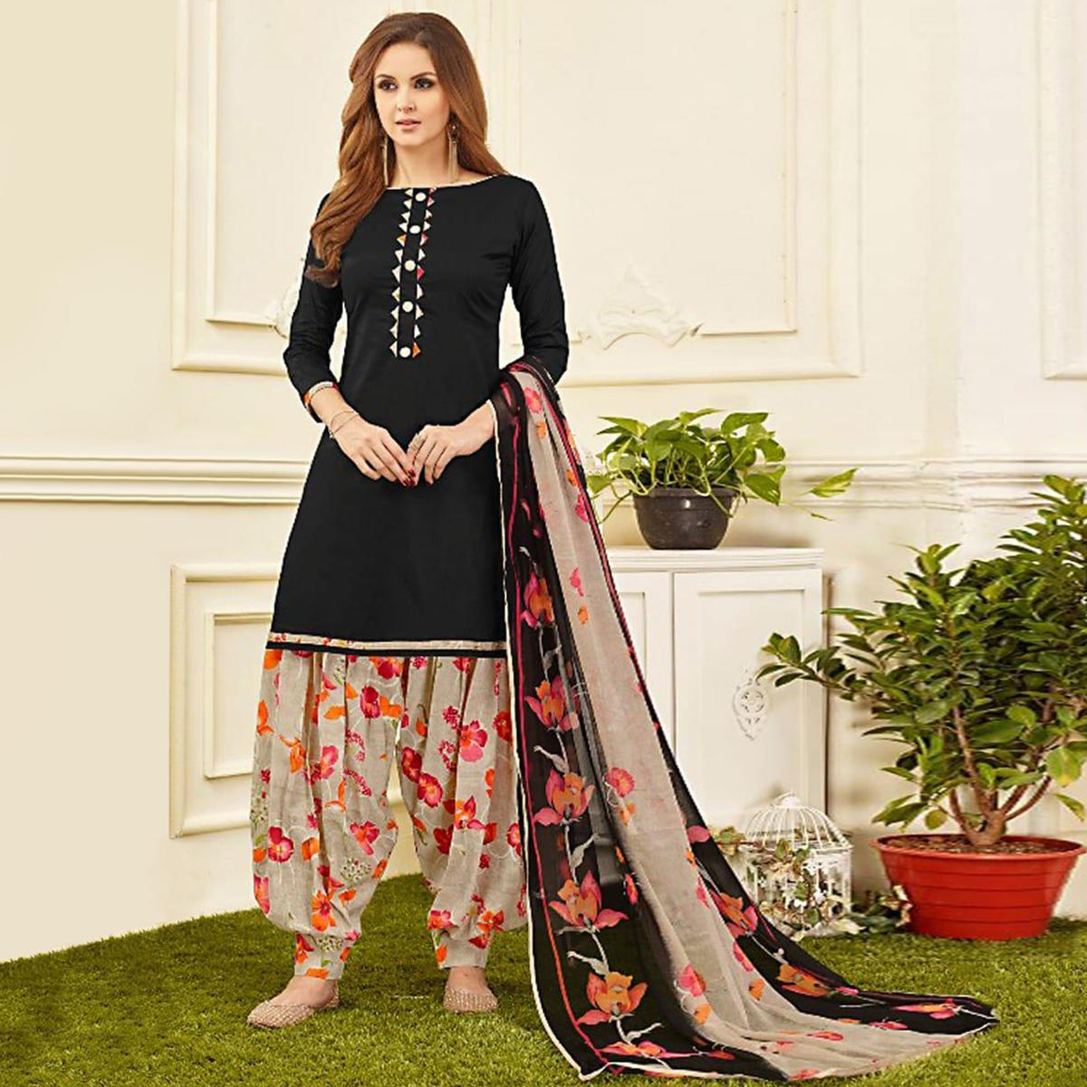 Stunning Black Colored Casual Wear Printed Crepe Salwar Suit