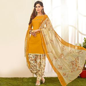 Blooming Yellow Colored Casual Wear Printed Crepe Salwar Suit
