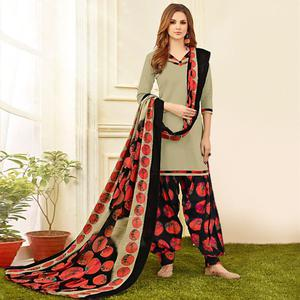 Marvellous Grey Colored Casual Wear Printed Crepe Salwar Suit