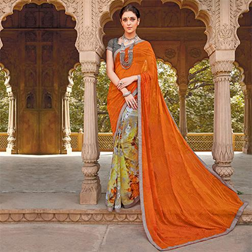 Orange - Green Printed Half & Half Saree