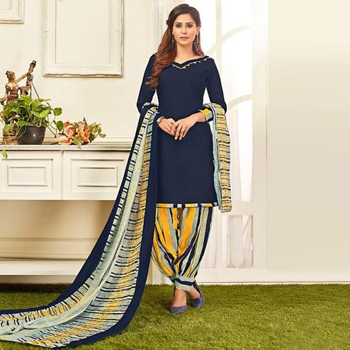 Mesmerising Navy Blue Colored Casual Wear Printed Leon Salwar Suit