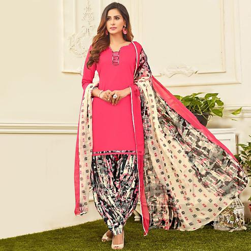 Ravishing Pink Colored Casual Wear Printed Crepe Salwar Suit