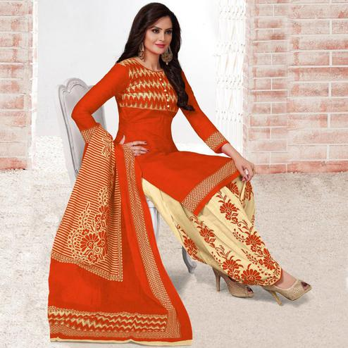 Amazing Rust Orange Colored Casual Wear Printed Leon Salwar Suit
