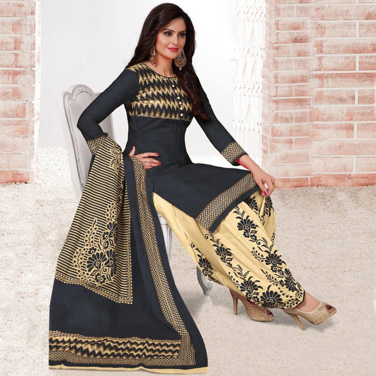 Exotic Dark Grey Colored Casual Wear Printed Crepe Salwar Suit