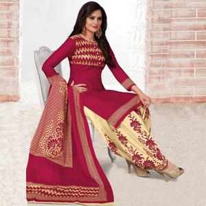 Majesty Dark Pink Colored Casual Wear Printed Crepe Salwar Suit