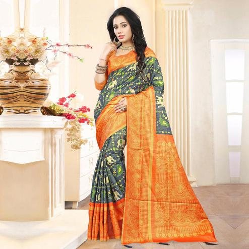 Gorgeous Grey Colored Festive Wear Digital Printed Tussar Silk Saree