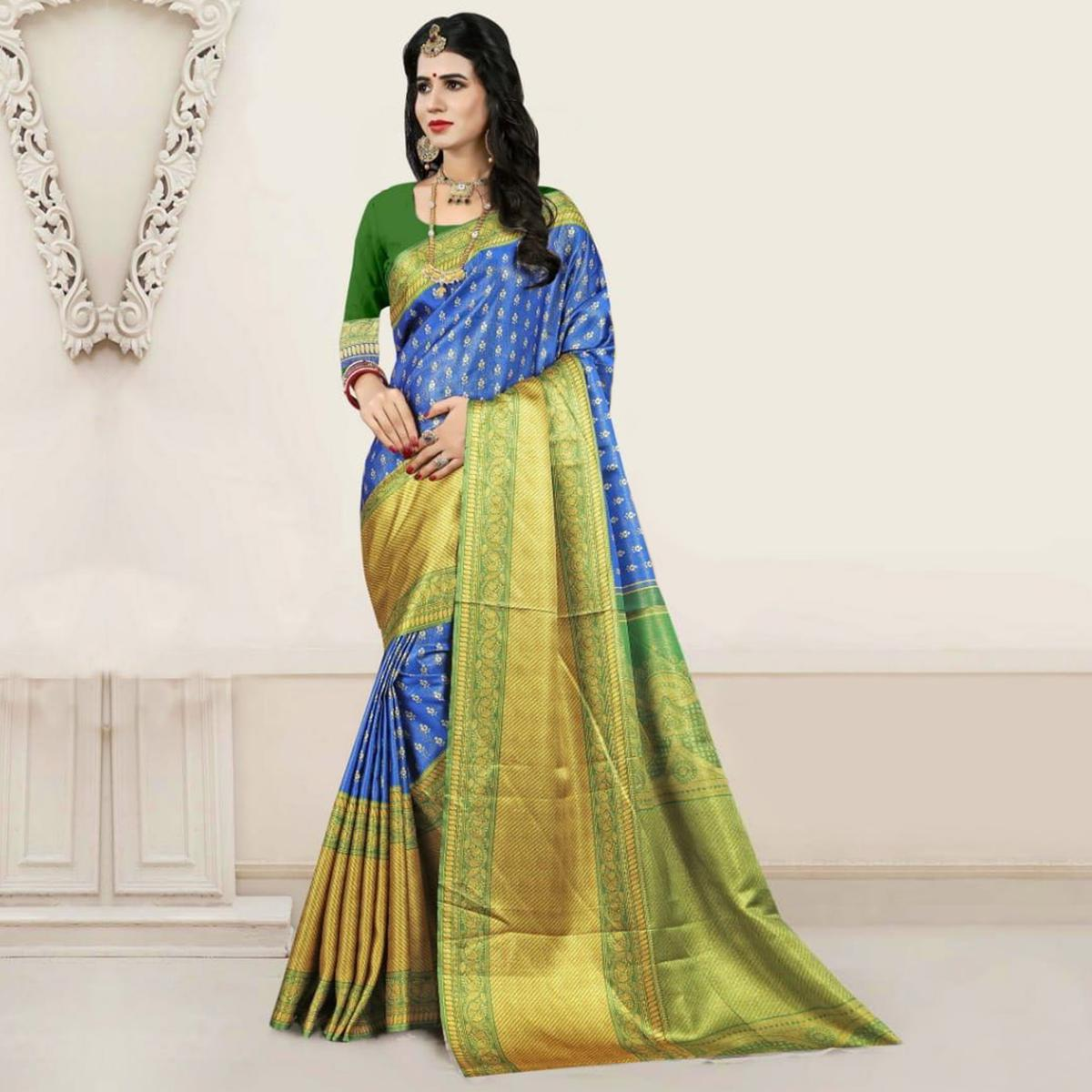 Glorious Blue - Green Colored Festive Wear Digital Printed Tussar Silk Saree