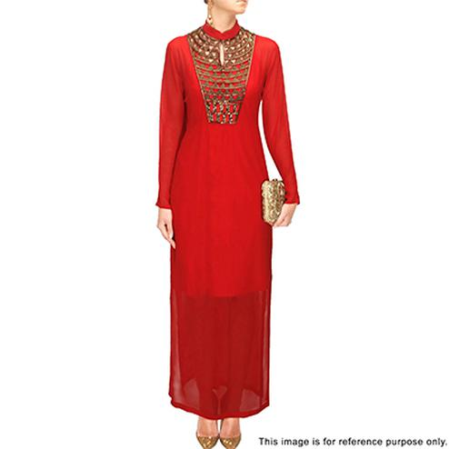 Hot Red Partywear Designer Embroidered Heavy Georgette Kurti