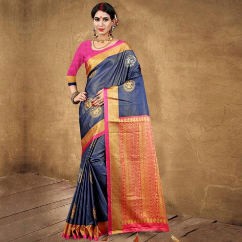 Lovely Navy Blue Colored Festive Wear Digital Printed Tussar Silk Saree