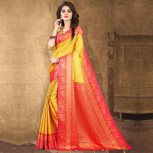 Charming Yellow Colored Festive Wear Digital Printed Tussar Silk Saree