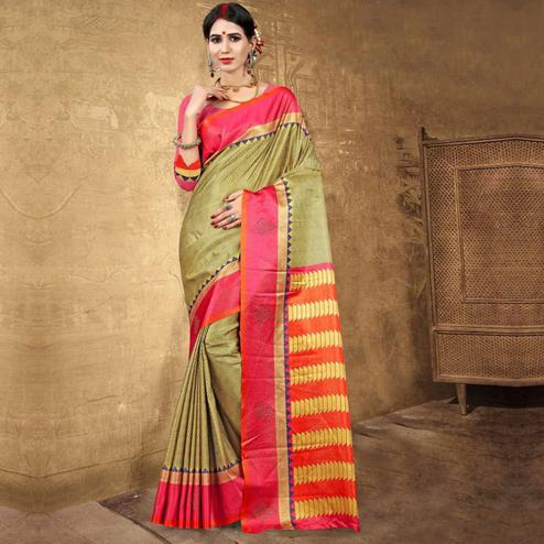 Delightful Green Colored Festive Wear Digital Printed Tussar Silk Saree