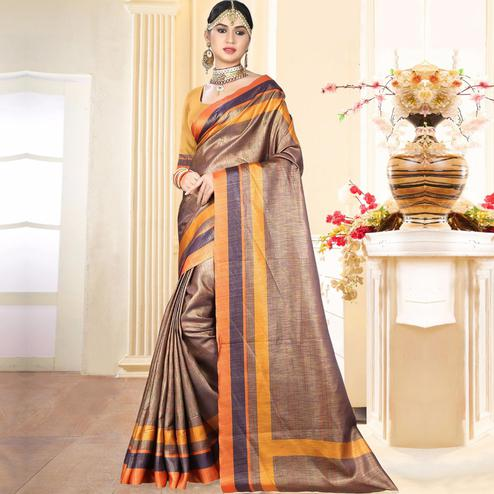 Stunning Brown Colored Festive Wear Digital Printed Tussar Silk Saree