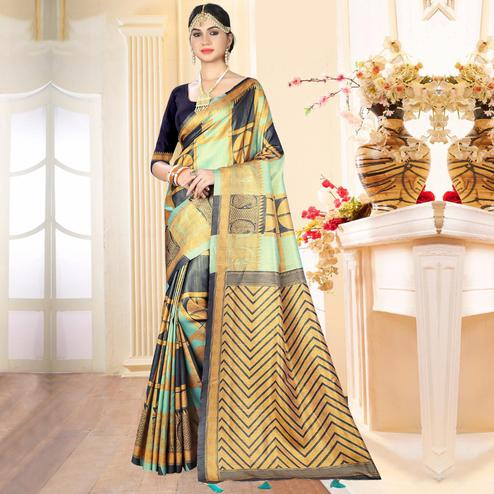 Blooming Multicolored Festive Wear Digital Printed Tussar Silk Saree
