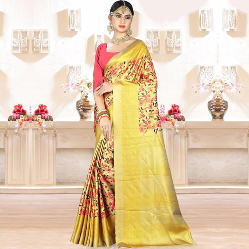 Marvellous Yellow Colored Festive Wear Digital Printed Tussar Silk Saree