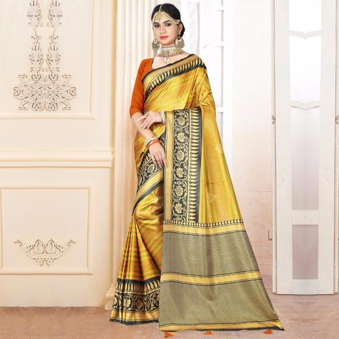 Mesmerising Yellow Colored Festive Wear Digital Printed Tussar Silk Saree