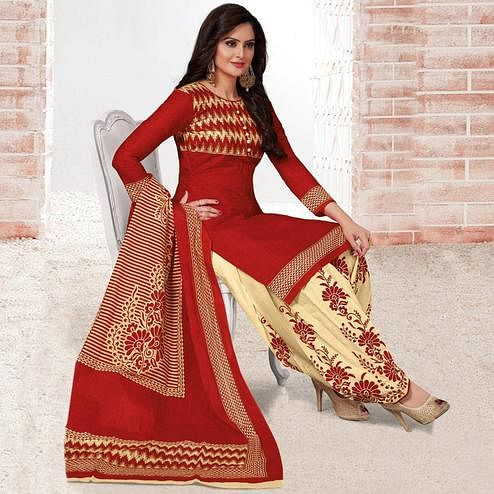 Preferable Red Colored Casual Wear Printed Leon Salwar Suit