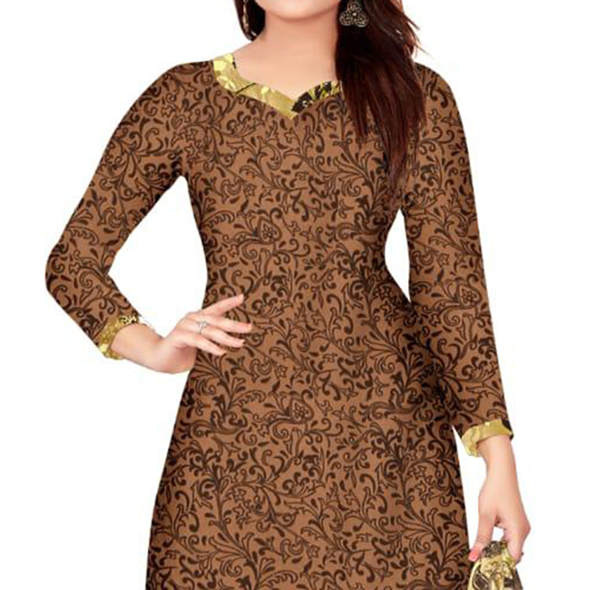 Attractive Brown Colored Casual Wear Printed Crepe Salwar Suit