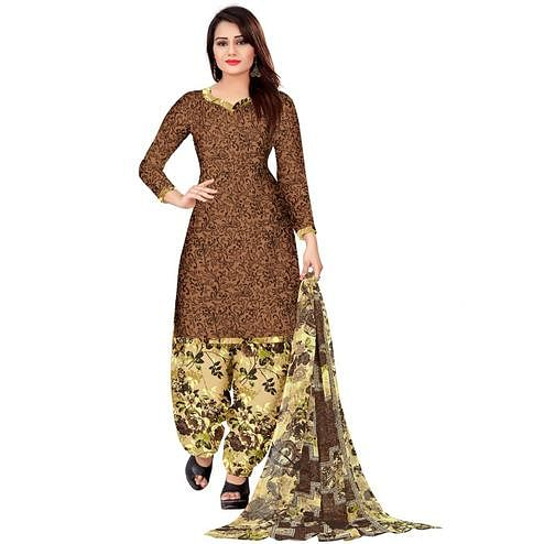 Attractive Brown Colored Casual Wear Printed Leon Salwar Suit