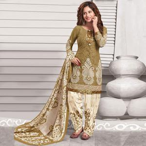 Beautiful Olive Green Colored Casual Wear Printed Crepe Salwar Suit
