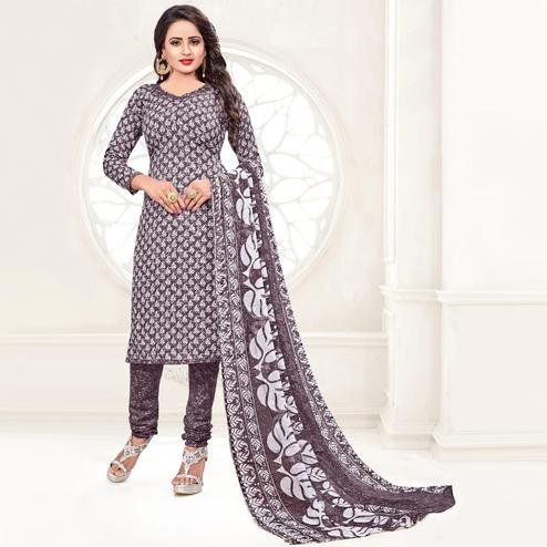 Gorgeous Dark Grey - White Colored Casual Wear Printed Leon Salwar Suit