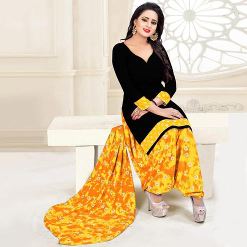 Classy Black - Orange Colored Casual Wear Printed Crepe Salwar Suit