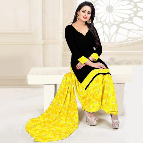 Glorious Black - Yellow Colored Casual Wear Printed Crepe Salwar Suit