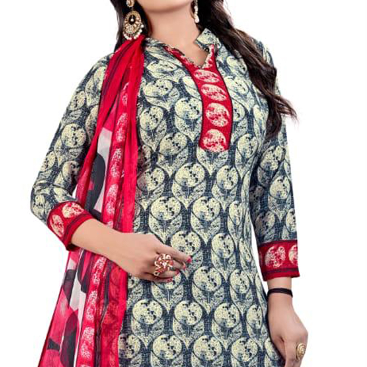 Lovely Grey - Cream Colored Casual Wear Printed Crepe Salwar Suit