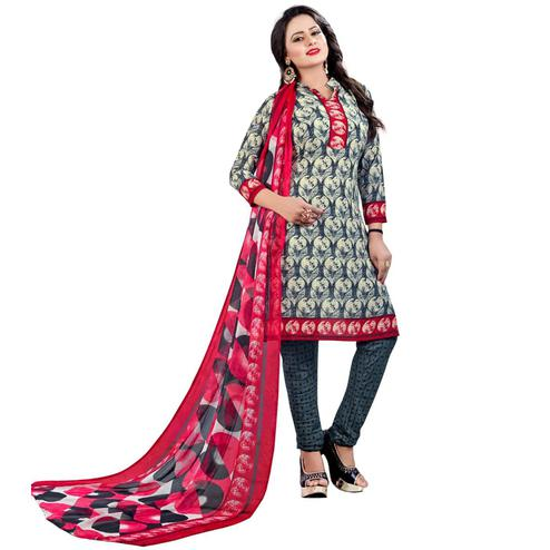 Lovely Grey - Cream Colored Casual Wear Printed Leon Salwar Suit