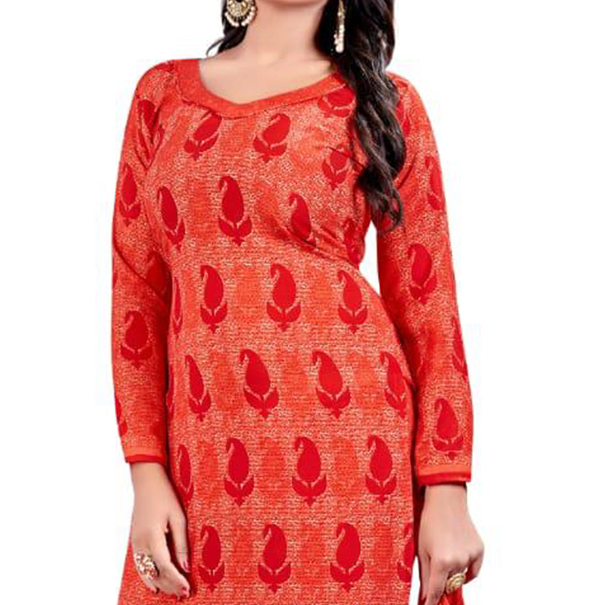 Pretty Red - Peach Colored Casual Wear Printed Crepe Salwar Suit