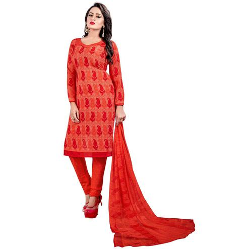 Pretty Red - Peach Colored Casual Wear Printed Leon Salwar Suit