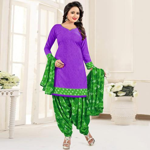 Charming Purple Colored Casual Wear Printed Leon Salwar Suit