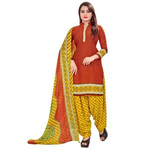 Intricate Rust Red Colored Casual Wear Printed Leon Salwar Suit