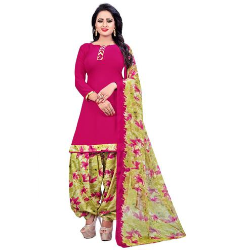 Sophisticated Deep Pink Colored Casual Wear Printed Leon Salwar Suit