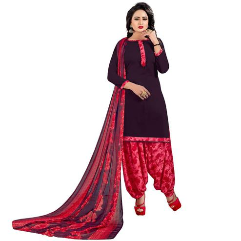 Pleasant Dark Purple Colored Casual Wear Printed Crepe Salwar Suit