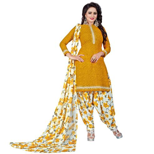 Unique Yellow Colored Casual Wear Printed Leon Salwar Suit