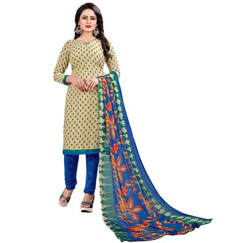 Refreshing Cream Colored Casual Wear Printed Leon Salwar Suit